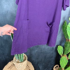 Flax Dresses - 🌵Flax Purple Linen 2-pocket Tunic Top Dress L